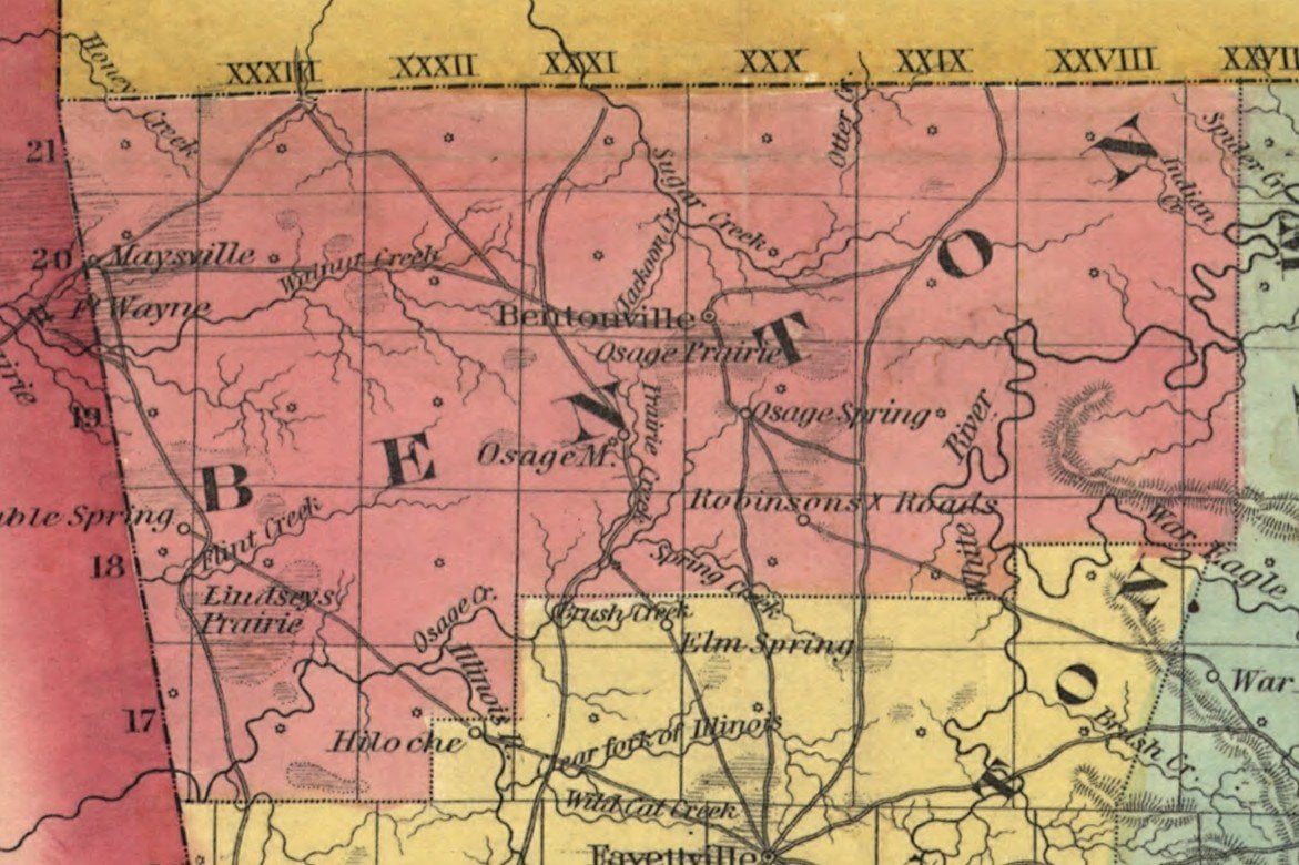 Benton County from the 1854 Colton Railroad and Township Map