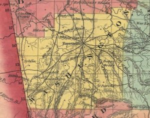 Washington County from the 1854 Colton Railroad and Township Map