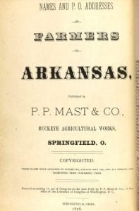 Cover Page of the 1878 Names and P.O. Addresses of Farmers in Arkansas