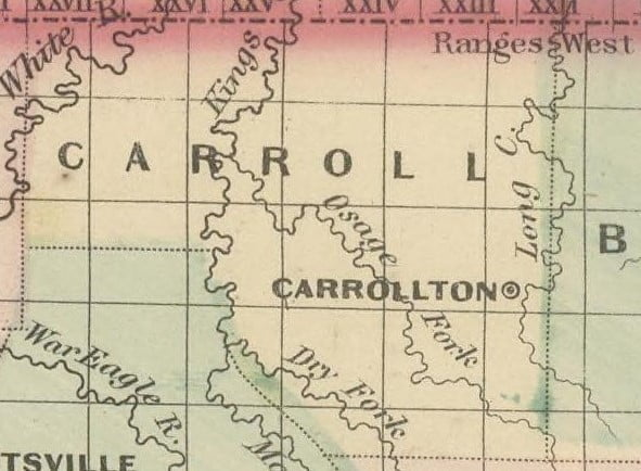 Carroll County from the 1875 Arkansas and portion of Indian Territory Map - FM